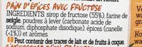Damhert Peperkoek Met Fructose - Ingrediënten