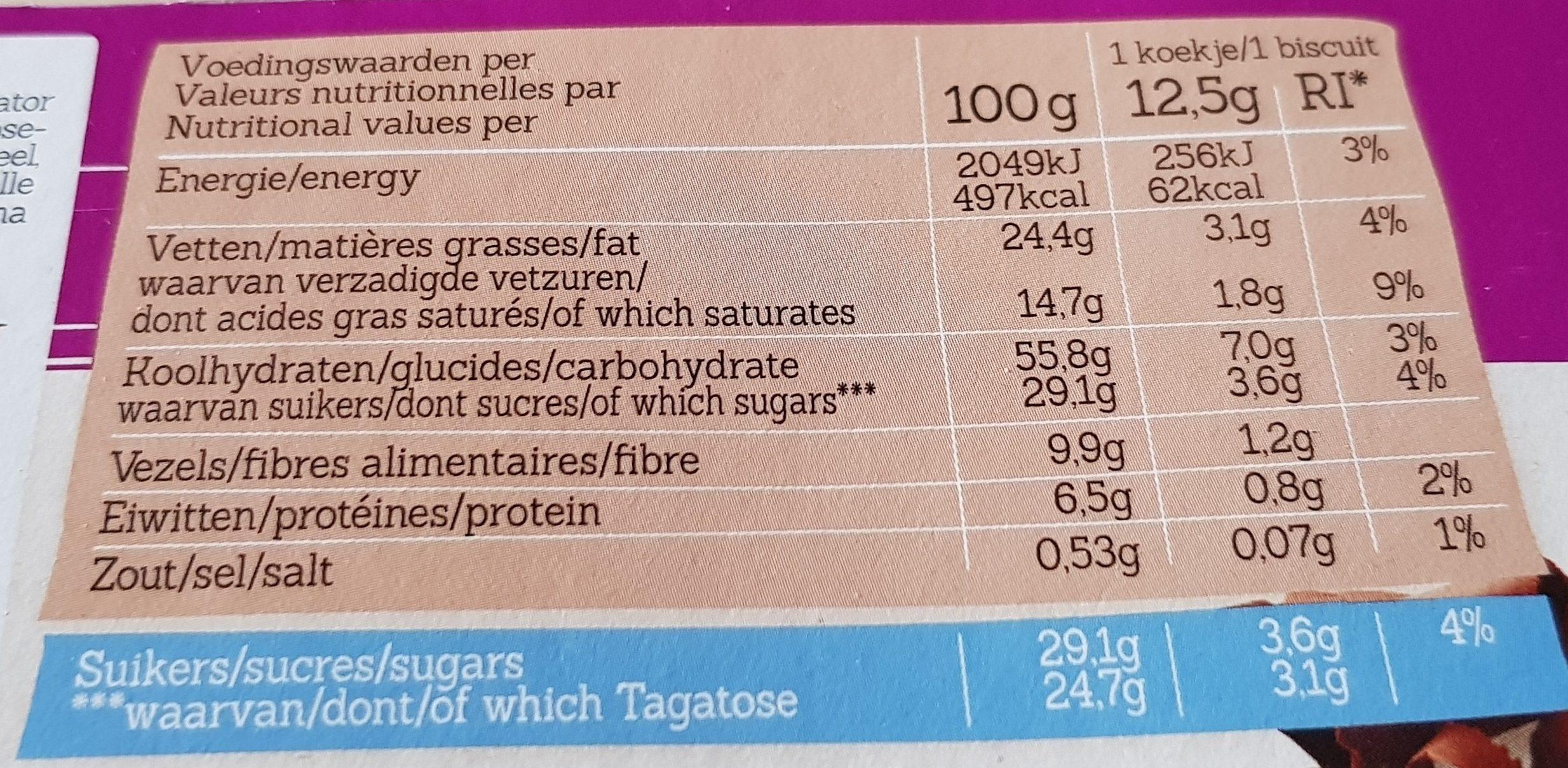 Tagatesse Petit Beurre Chocolat Noir - Informations nutritionnelles