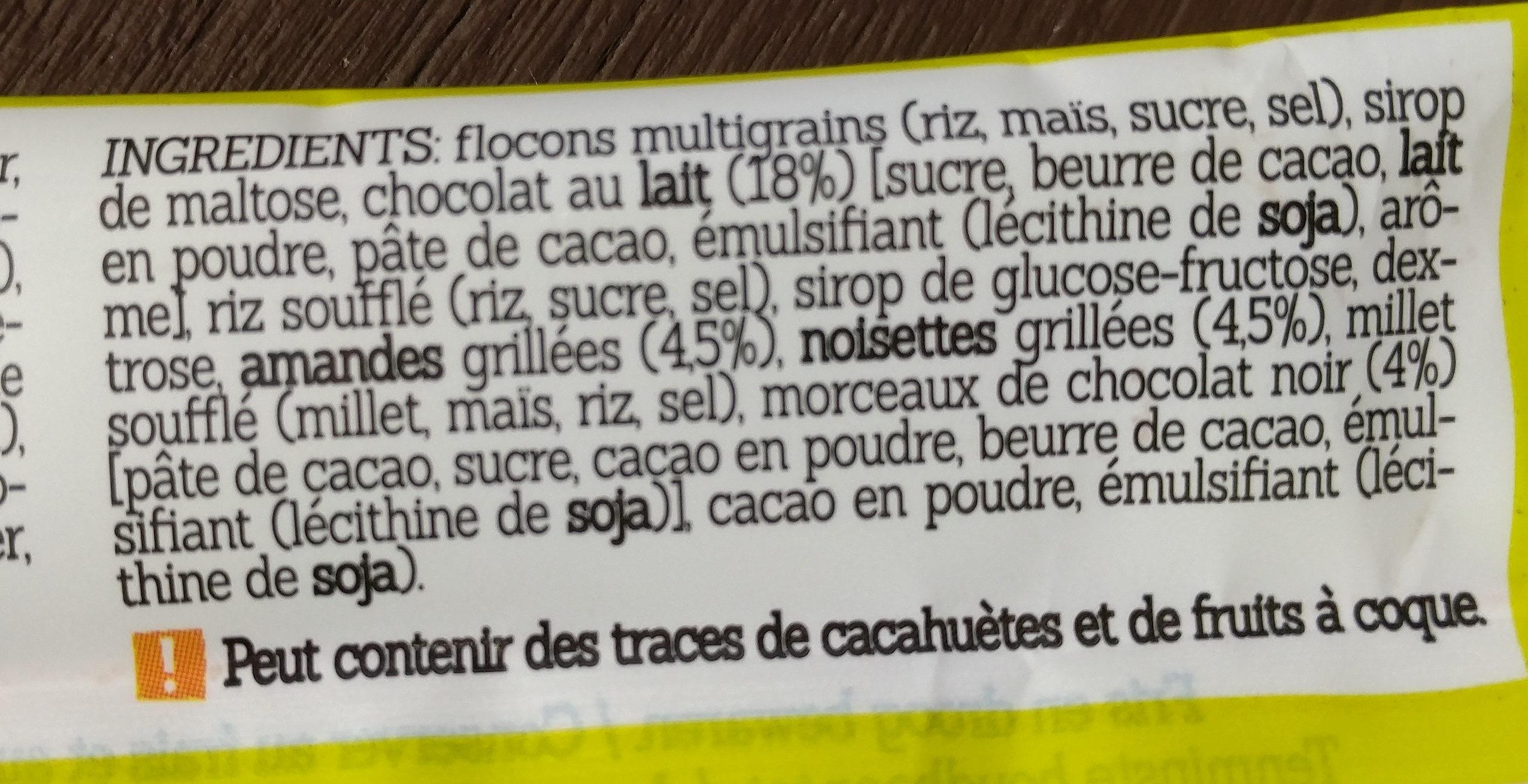 Damhert Glutenvrij Mueslireep Chocolade Glutenvrij - Ingrediënten - fr