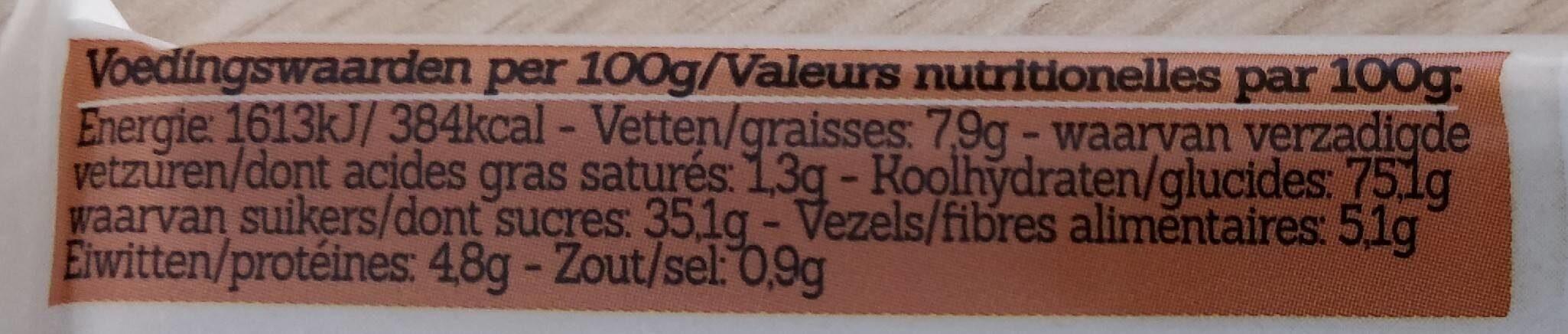Damhert Glutenvrij Mueslireep Chocolade Glutenvrij - Voedingswaarden - fr