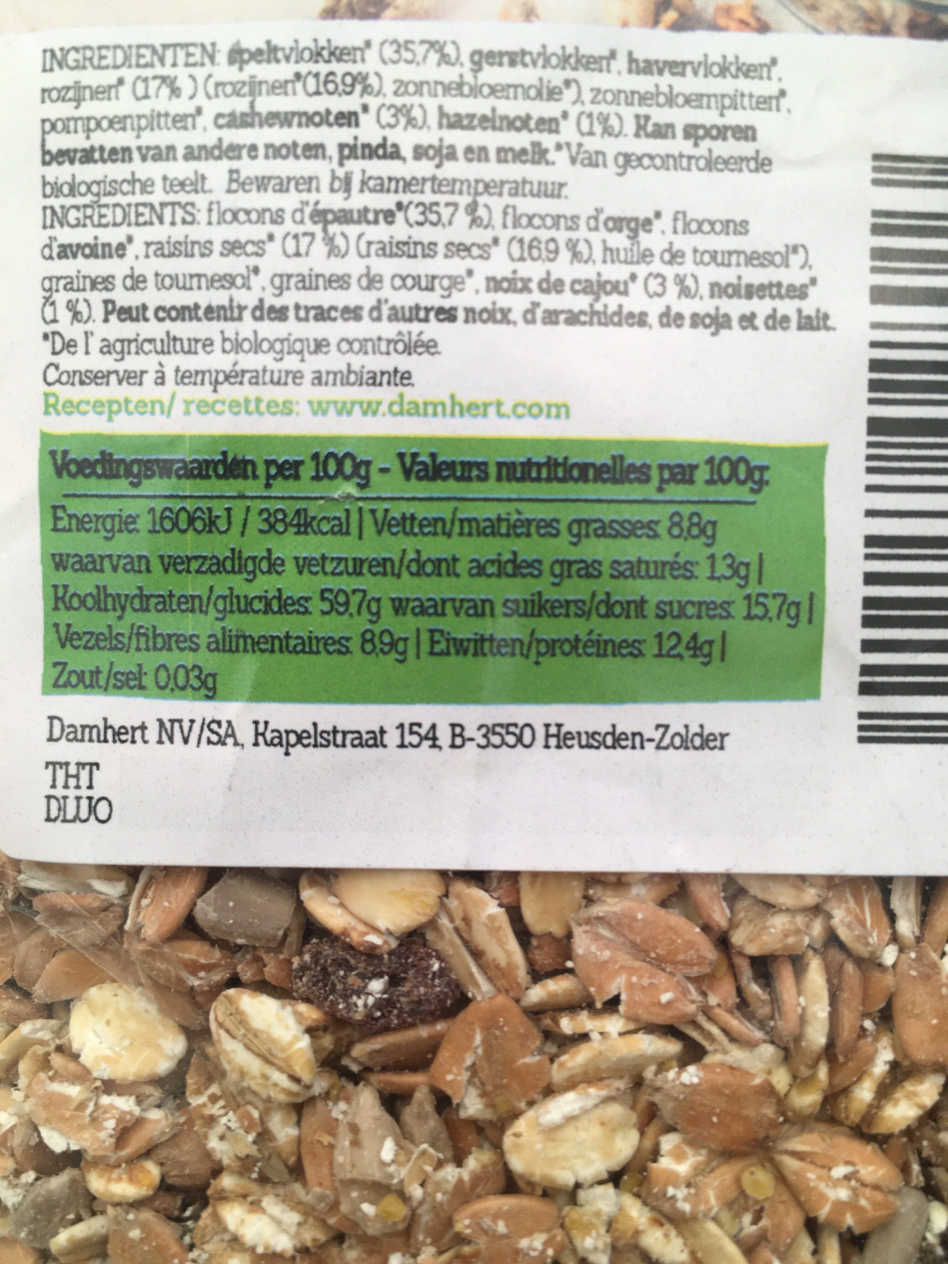 Muesli spelt/Épautre - Voedingswaarden - nl