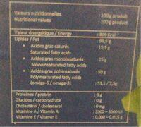 Oilio - Informations nutritionnelles - fr