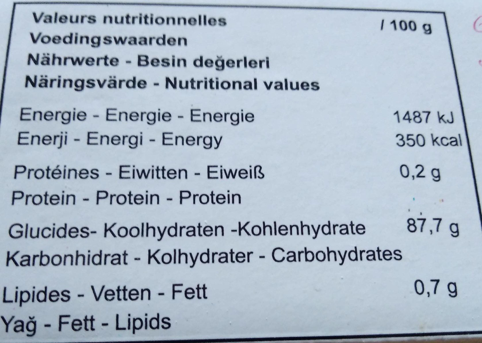 Loukoums goût rose - Nutrition facts - fr