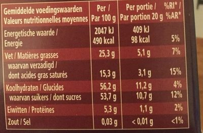 Granulés de Chocolat Fondant - Nutrition facts