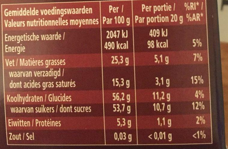 Granulés de Chocolat Fondant - Nutrition facts