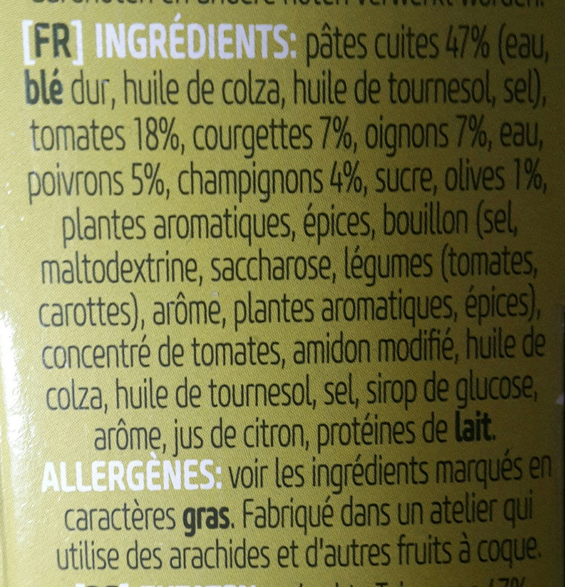 Vegetarian Pasta - Ingrediënten - fr