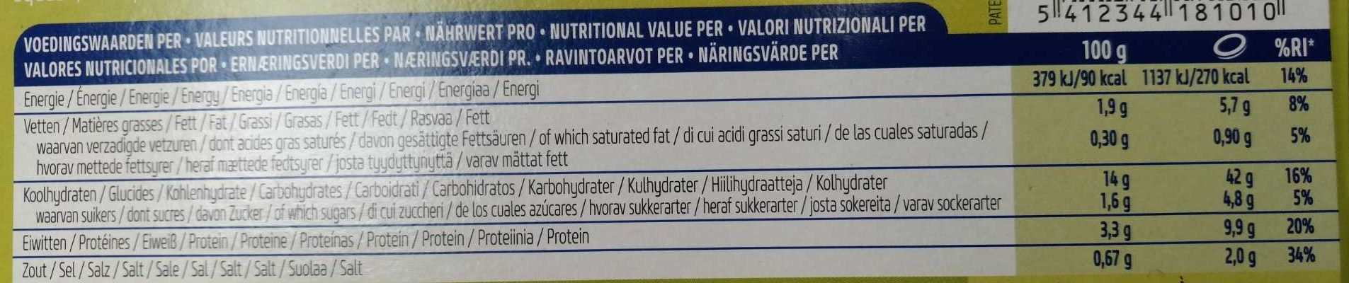 Vegetarian Pasta - Voedingswaarden - fr