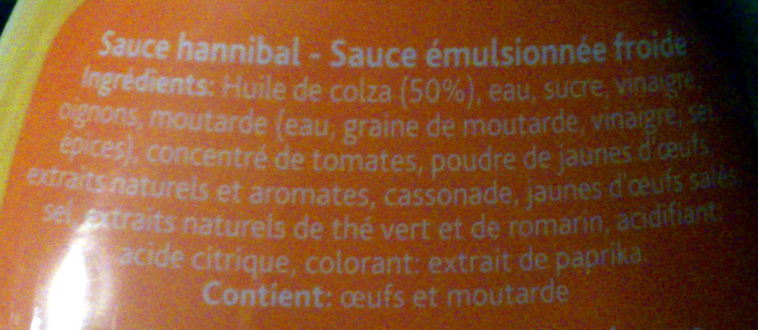 Sauce Burger Hannibal - Ingrédients - fr