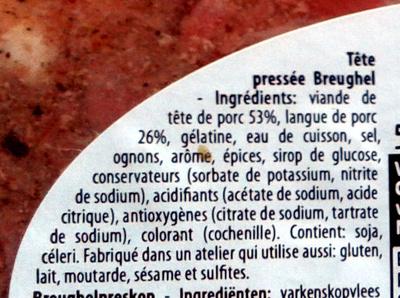 Tête pressée - Ingrediënten - fr