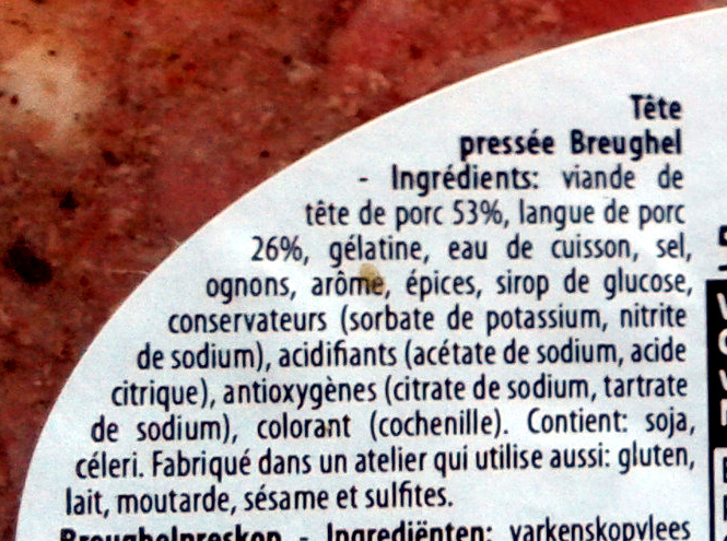 Tête pressée - Ingredients - fr