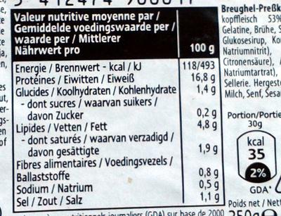 Tête pressée - Nutrition facts - fr