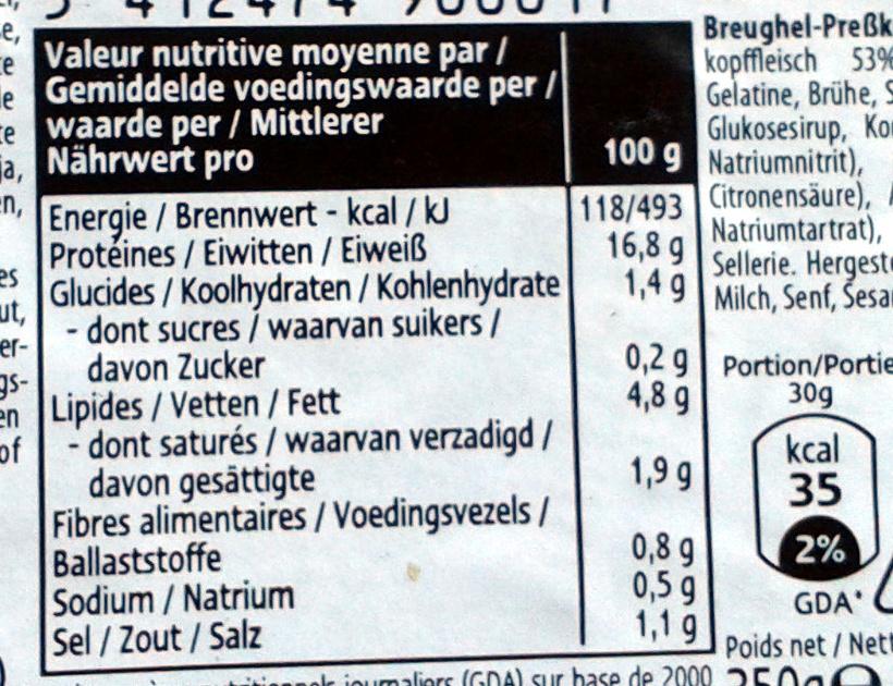 Tête pressée - Nutrition facts