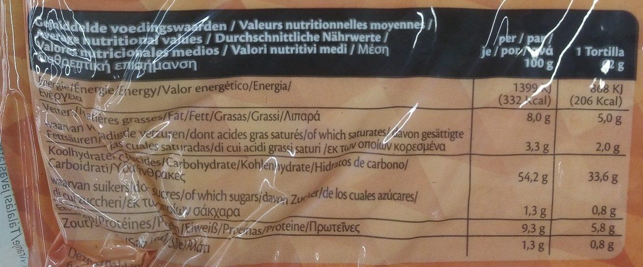 6 wraps original - Nutrition facts