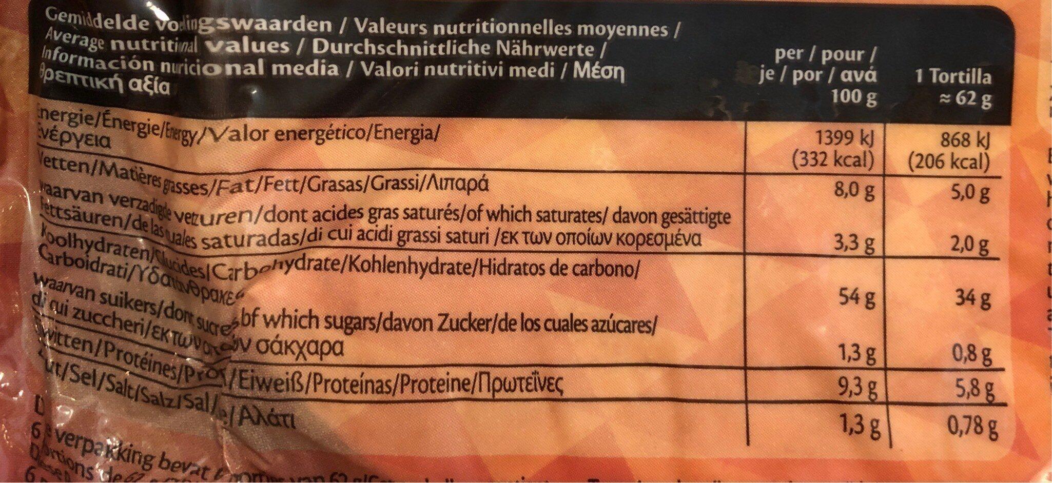 6 Original Wraps - Informations nutritionnelles - fr