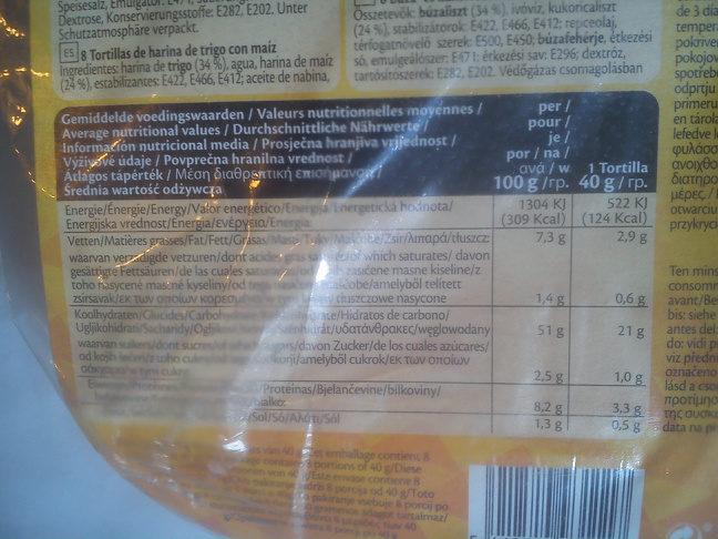 Tortilla corn - Výživové údaje - cs