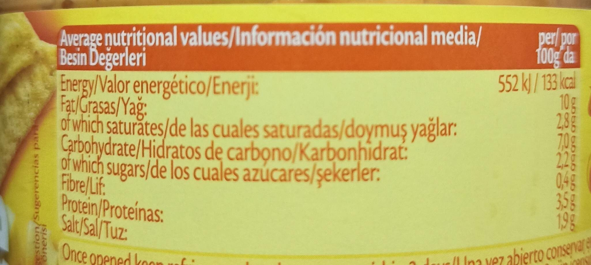 Cheese Salsa Con Queso - Informations nutritionnelles - fr