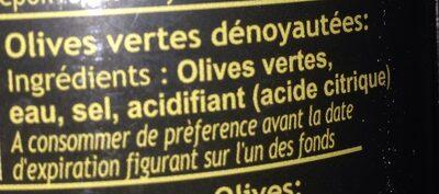Cartier Olives Vertes Dénoyautées (groene Olijven) - Ingrediënten - fr
