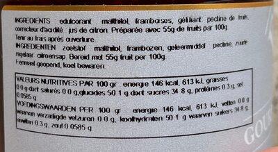 Confiture framboises - Voedingswaarden - fr