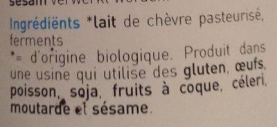 Yaourt de chèvre nature - Ingrediënten