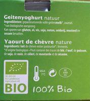 Yaourt de Chèvre Nature - Ingredients