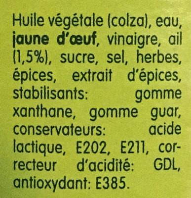 La sauce belge pita - Ingrédients