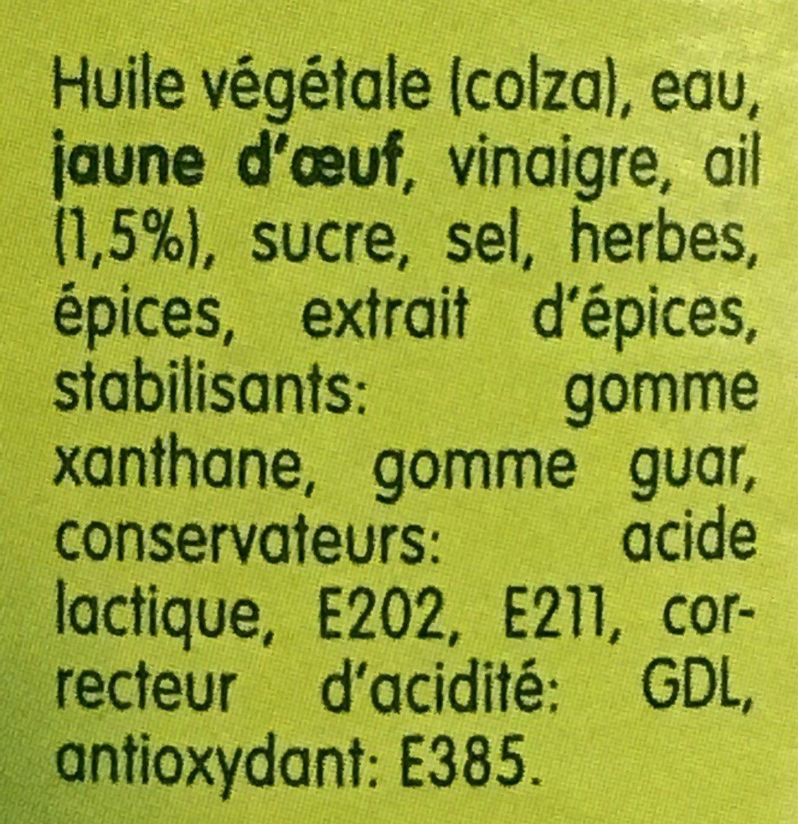 La sauce belge pita - Ingrédients - fr