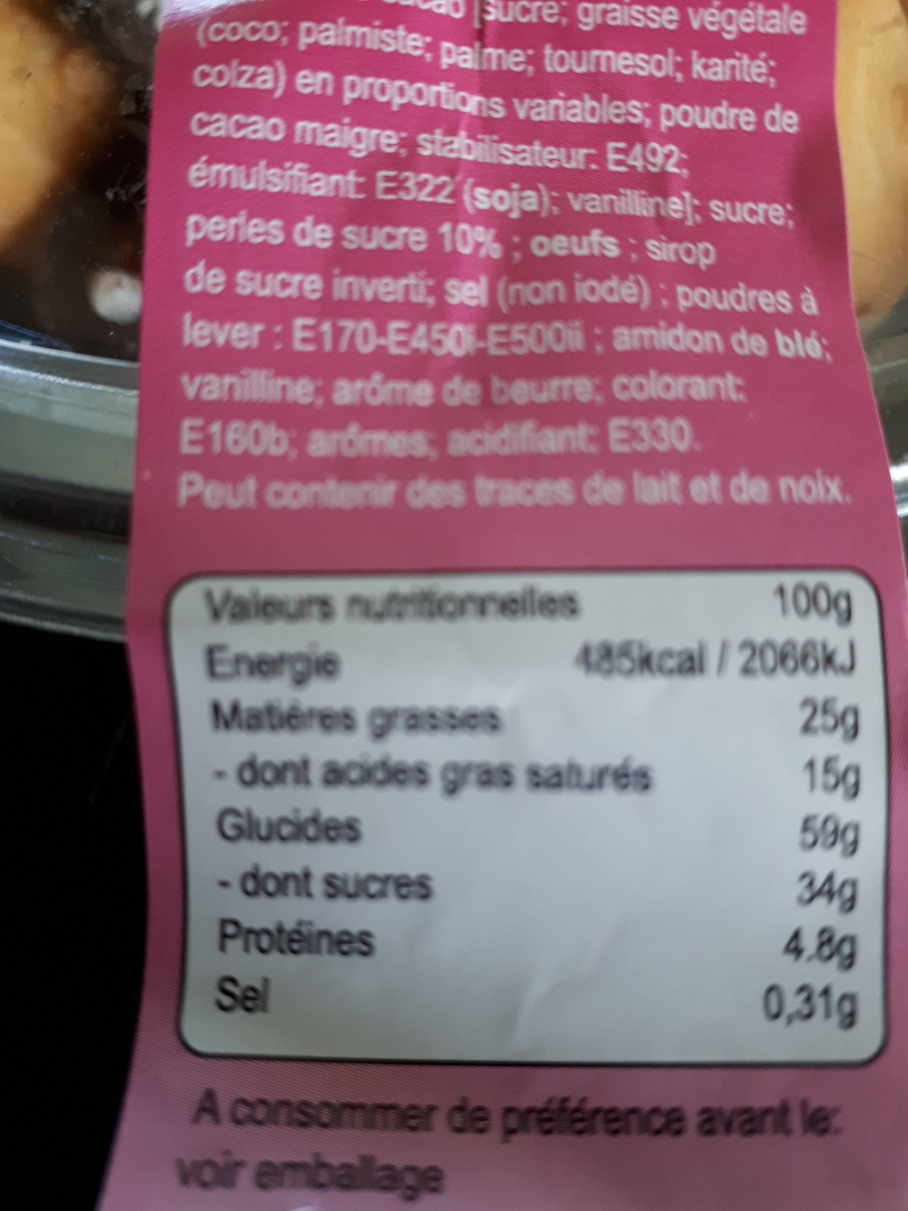Palets aux perles de sucres - Informations nutritionnelles