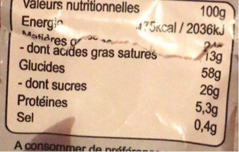 Patte d'ours neige - Informations nutritionnelles - fr