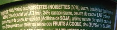 Pâte a tartiner chocolat praliné - Ingredients - fr