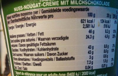 Pâte a tartiner chocolat praliné - Nutrition facts - fr