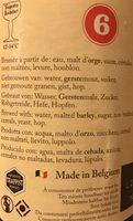 Bière Trappiste Rochefort 6 - Ingredients - fr