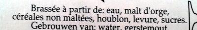Rochefort 8 - Bière trappiste. - Ingredients