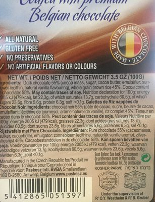 Galettes Riz Choco - Ingrédients