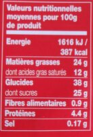 Daim cheesecake - Valori nutrizionali - fr