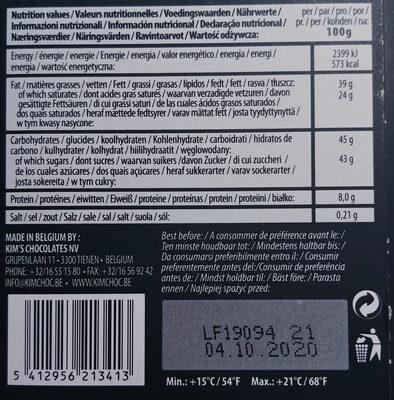 Chocolat au lait 37%- Bio - Wartości odżywcze - pl