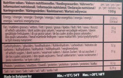 Madagascar 32% Chocolat au lait - 营养成分 - fr