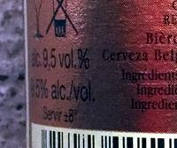 Bière belge artisanale - Voedingswaarden - fr