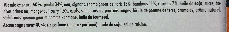 Poulet Curry & riz parfumé - Ingrediënten