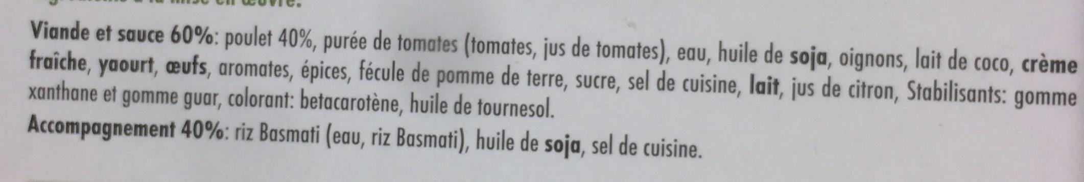 Poulet Korma et Riz Basmati - Ingrédients - fr