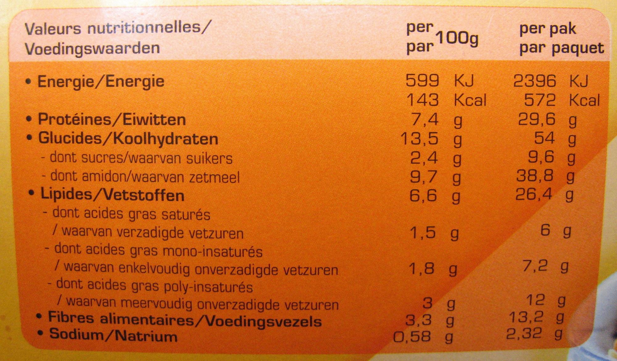 Nouilles Royales Bami Goreng - Nutrition facts