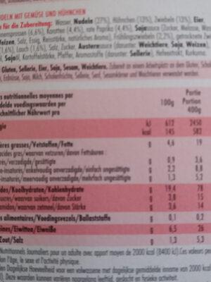 Wok nouilles - Voedingswaarden - fr