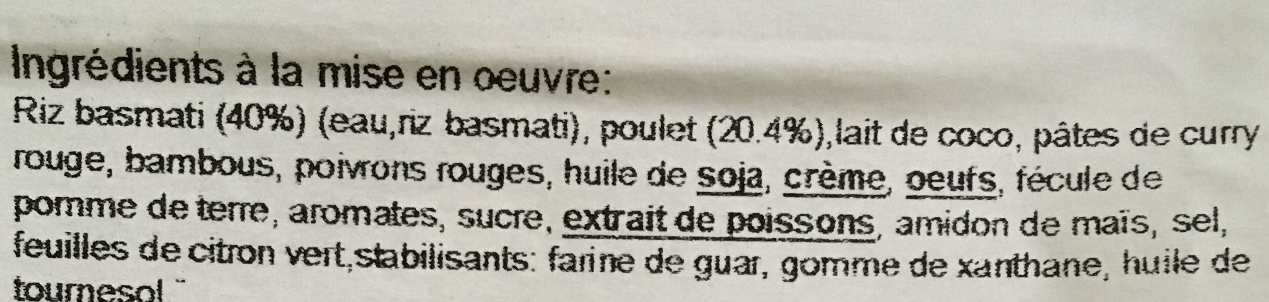 Poulet de curry rouge - Ingrediënten - fr