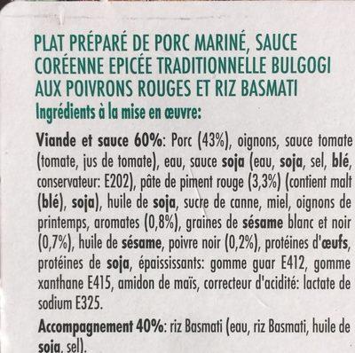 BULGOGI - Ingrediënten - fr