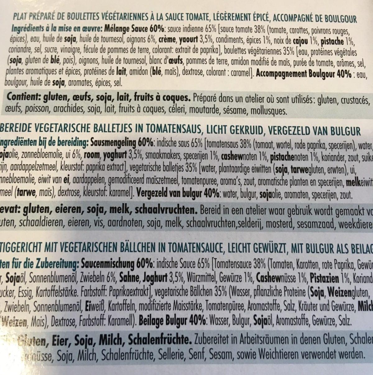 Tandoori boulettes et boulgour - Ingredients