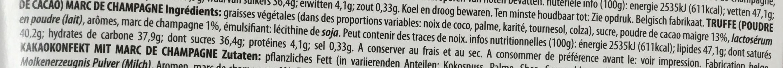 Fancy Truffes Marc de Champagne - Ingredients