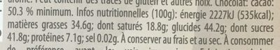 Dark chocolat almonds&sea salt - Nutrition facts - fr