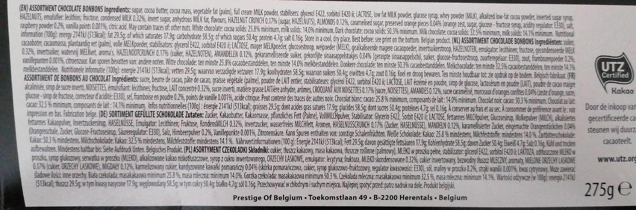 Prestige of belgium - Nutrition facts
