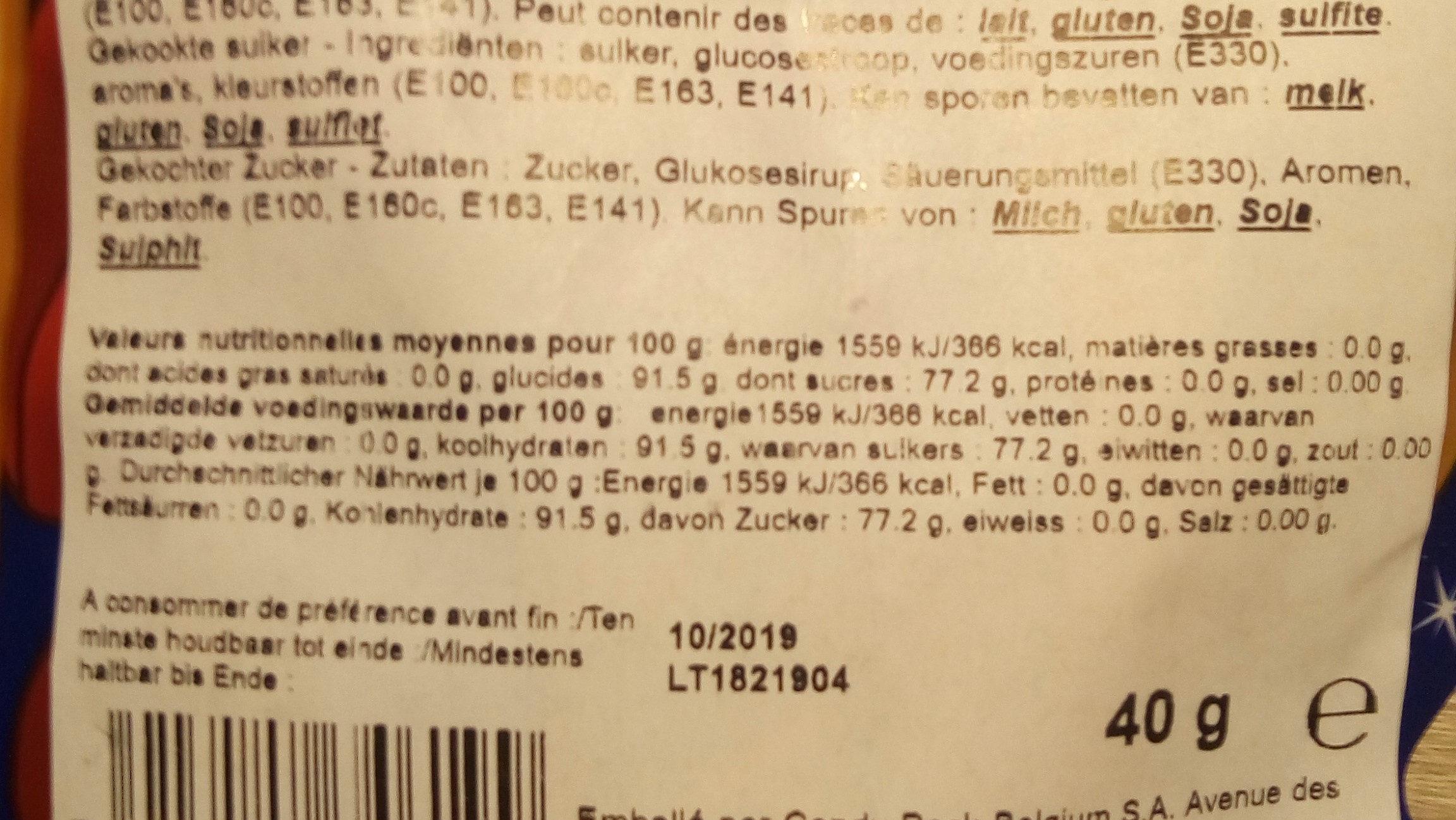 Confiserie - Informations nutritionnelles - fr