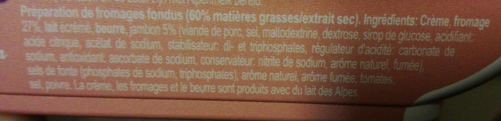Fromage fondu jambon - Ingrédients - fr