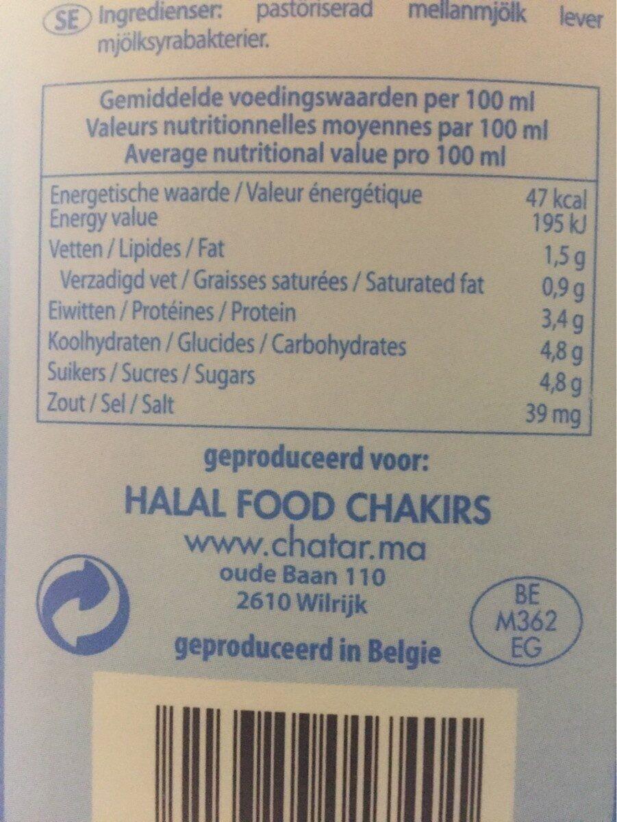 Lait Fermenté - Informação nutricional - fr